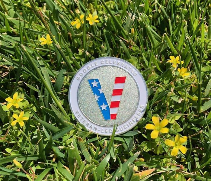 Red, white and blue silver coin that's scripted with Google Celebrates Veteran-Led Businesses
